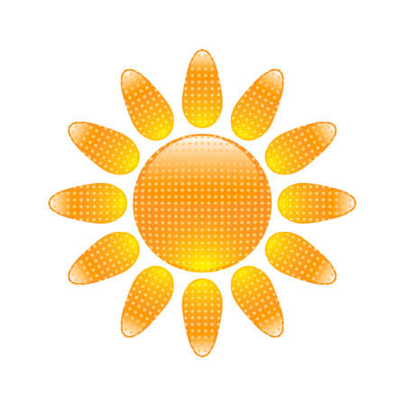 Glossy sun icon with halftone pattern