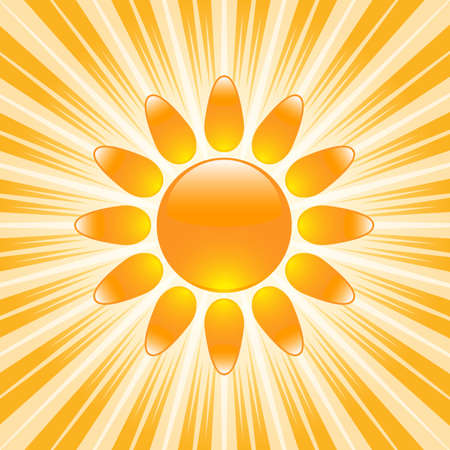 Glossy sun icon with hot, bright rays on background
