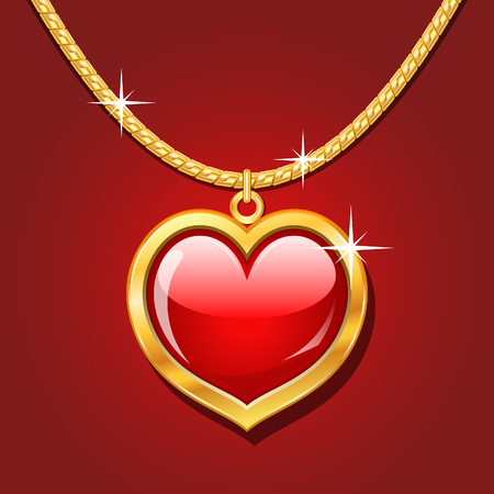 Golden necklace with glossy ruby heart Illustration