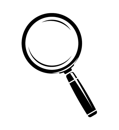 magnifying glass: Monochromatic magnifying glass icon
