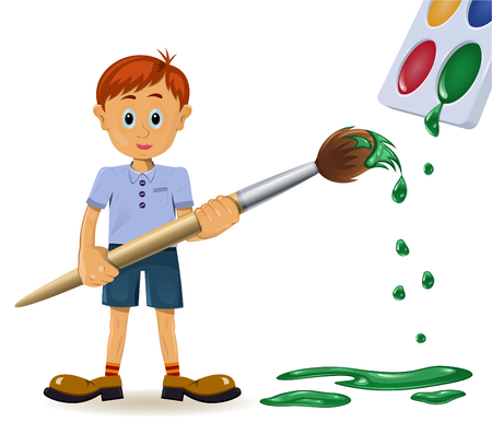 paints: Boy and paintbrush. Funny cartoon character