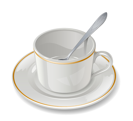 Empty cup with saucer and teaspoon