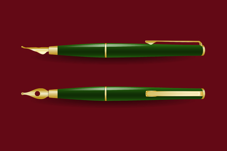 Golden fountain pen in side and top views Vector