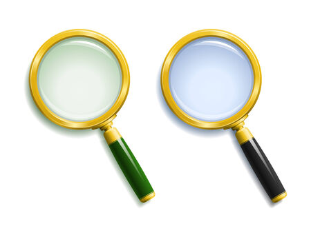 obscurity: Pair of gold magnifying glasses with bluish and greenish lenses and shadows