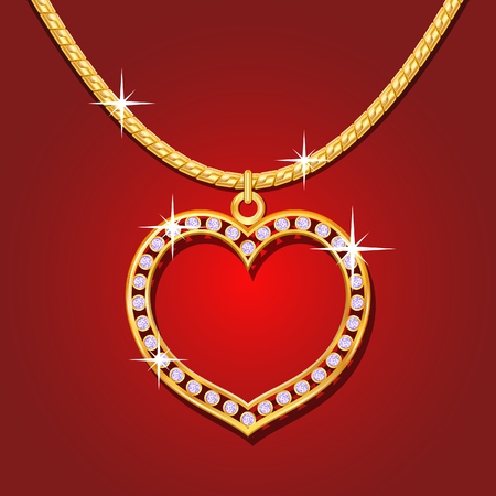 Necklace with golden heart and brilliants Vector