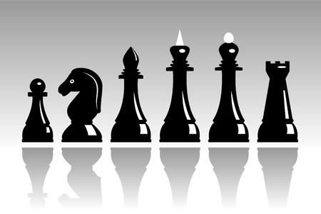 반사와 검은 체스 세트
