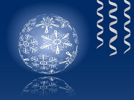 Blue shiny snowflakes ball illustration Stock Vector - 8572919