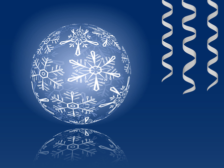 Blue shiny snowflakes ball illustration