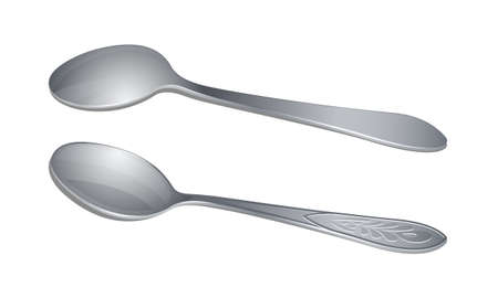 Pair of teaspoons from above and bottom views