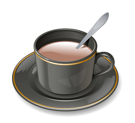 Black cup with cocoa and milk Vector