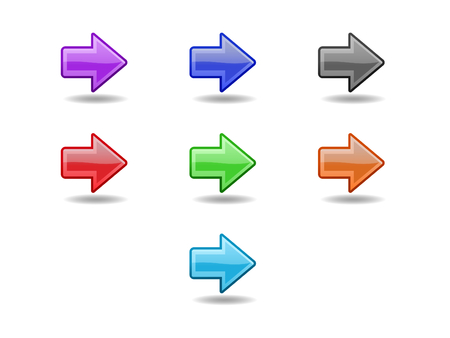 backwards: Colored  straight arrows. Web icons set