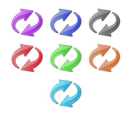 flechas curvas: Flechas de reciclaje de color. Conjunto de iconos de Web Vectores