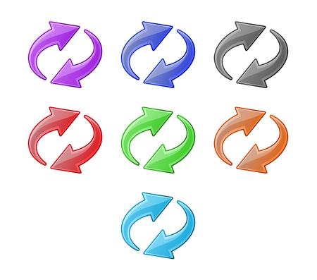opfrissen: Gekleurde recyclage pijlen. Web icons set