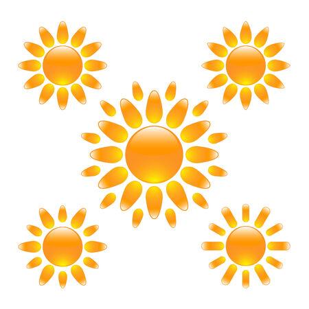 Set of elegant glossy sun icons Stock Vector - 8572929