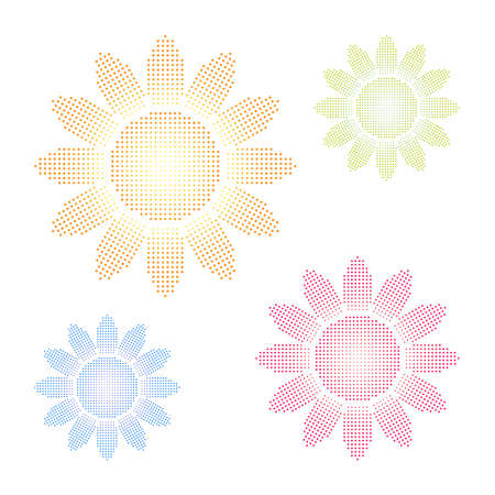Set of colored halftone sun or sunflower shapes. Looks good on black too Stock Vector - 8572937