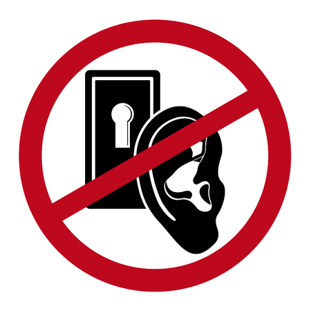 dichromatic: Human ear close by keyhole under prohibitive sign. Dichromatic simple icon