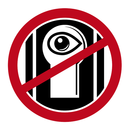 Human eye close by keyhole under prohibitive sign. Two color simple icon