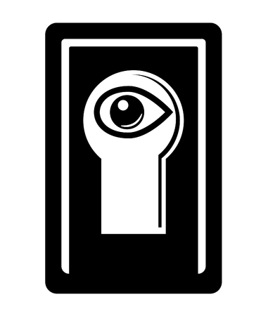vigilance: Human eye close by keyhole. Monochromatic icon