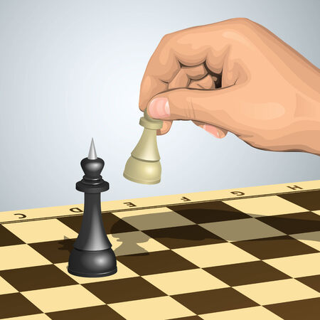 White pawn in hand makes attack against the black king