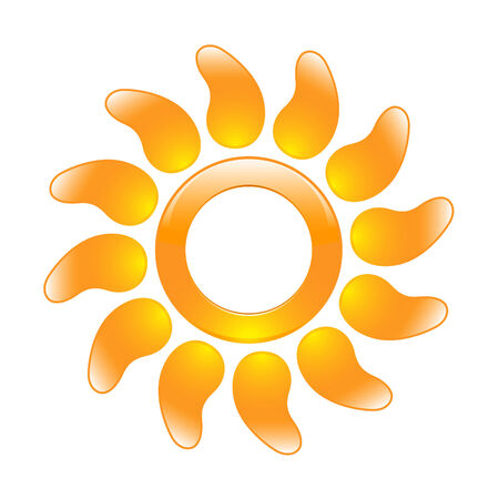 Glossy sun icon in the form of a ring and with curved rays Stock Vector - 8653846