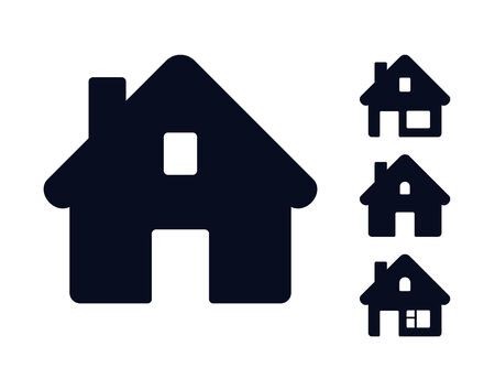 Set of monochromatic houses. Web icons collection