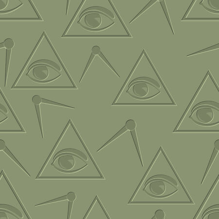 Eye in triangle. Seamless background Illustration