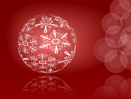 Red shiny snowflakes ball illustration Stock Vector - 8653866