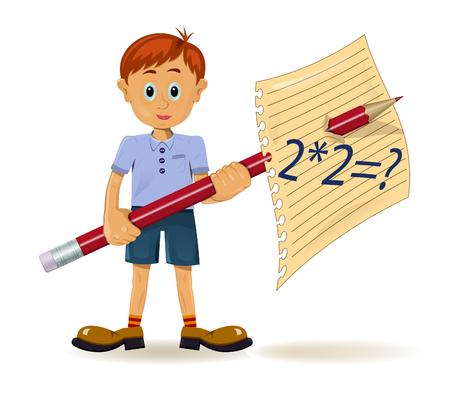 Boy and pencil. Funny cartoon character Vector
