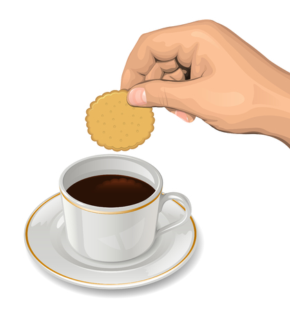 Cookie in hand above coffee cup