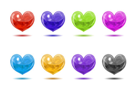Colored glossy hearts set from substance like lava