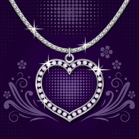 colliers: Collier avec c?ur platine et brillants sur fond floral abstrait