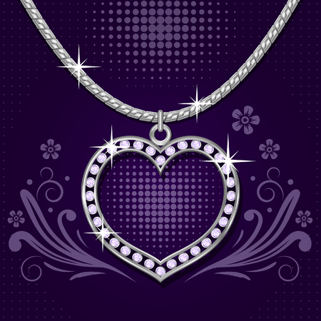 Necklace with platinum heart and brilliants on abstract floral  background Illustration