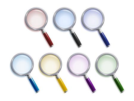 lupa: Conjunto de lentes de aumento con diferentes colores de lentes, tiradores y sombras
