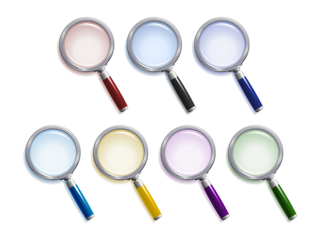 Set of  magnifying glasses with different colors of lenses, handles and shadows Ilustração