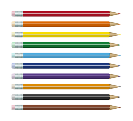 Colored pencils set with different colors of erasers. Isolated on white Stock Vector - 8768872