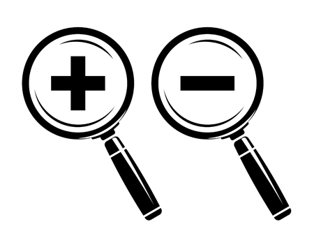 Monochromatic increase-decrease magnifiers icons Illustration