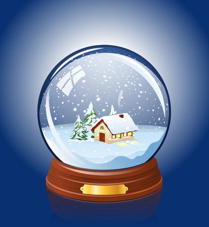 bola de cristal: Bola de cristal cubierto de nieve con un hogar dentro de