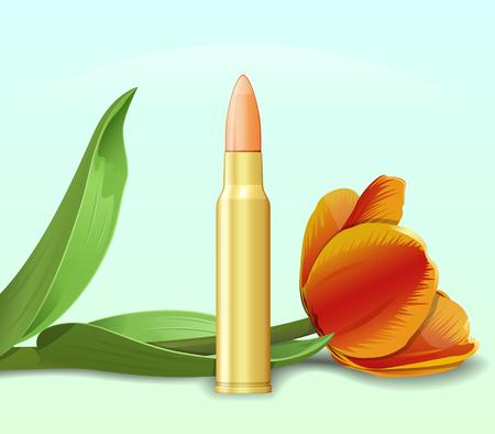 allegorical: Bullet and flower. Allegorical war and peace illustration