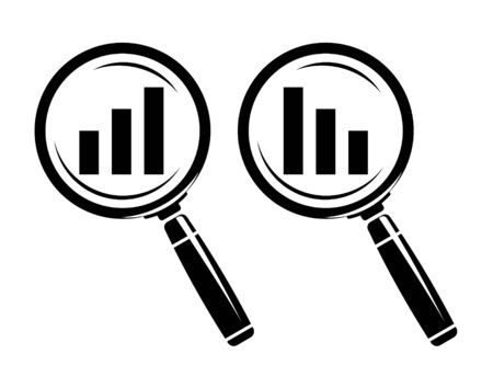 monochromatic: Monochromatic increase-decrease magnifiers icons Illustration