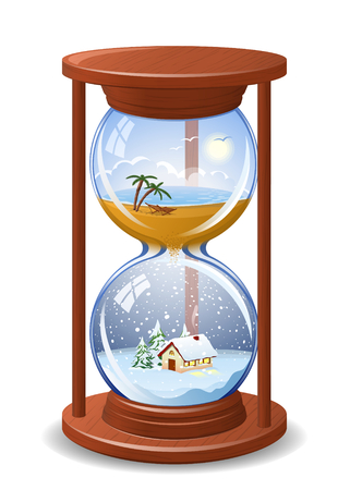 From summer to winter sandglass. High detailed illustration Illusztráció