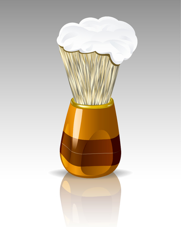 Shaving brush with foam. Realistic illustration