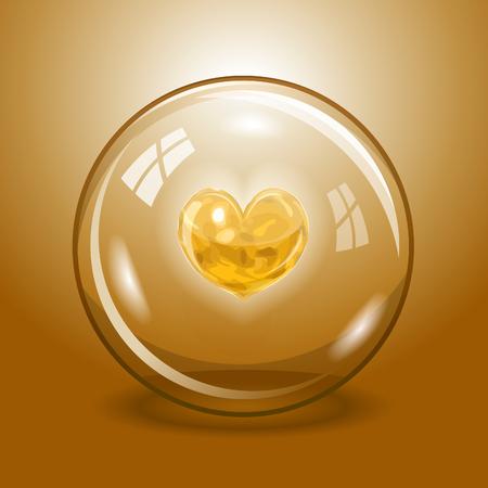 lav: Shining orange lava heart inside the glass ball