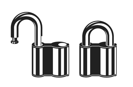 Locked and unlocked monochromatic padlock icons