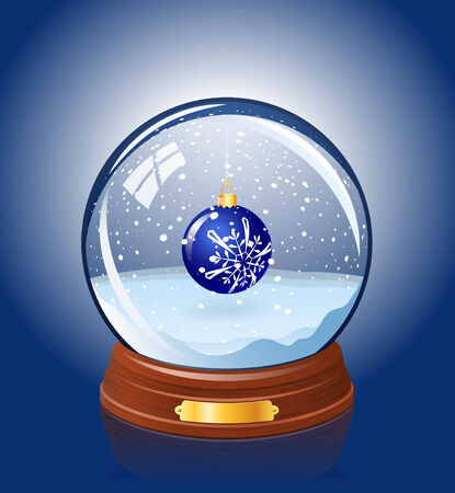 Snowy glass ball with a Christmas-tree decoration within Vector