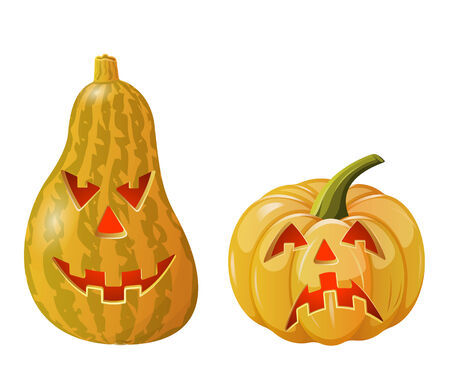 Two funny Jack O'Lanterns. Isolated on white Stock Vector - 8893152