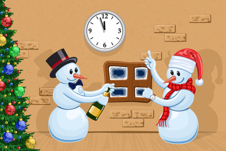 Two funny snowmen celebrate New Year Vector