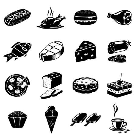 ham and cheese: Monochromatic icons set of some foods and one cup of hot coffee Illustration