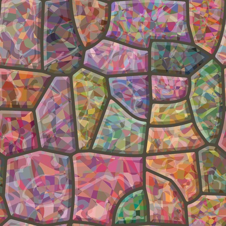stonework: Colorful stone mosaic. Seamless vector texture