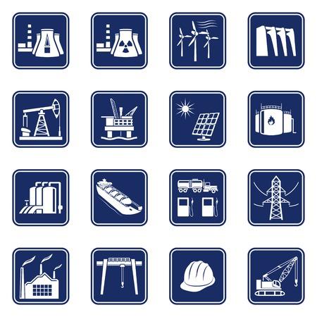 산업, 건설, 에너지 생산의 집합 단색 아이콘