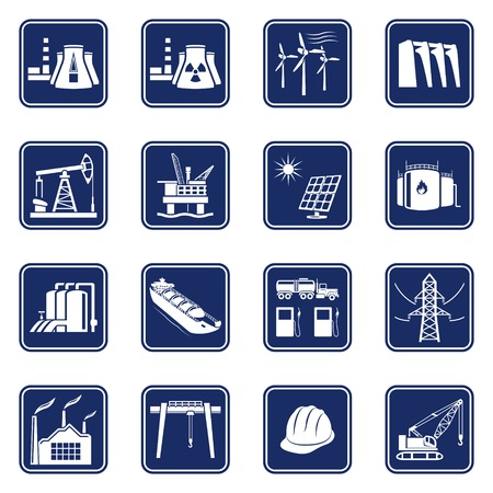 Monochromatic icons set of industries, construction and energy production